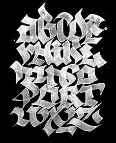 Now say your abc's. ABC-BOOK by Julien Priez, via Behance This more graffiti like style uses a modern attempt to create blackletter. the reverse coloring of white on black draws the viewer in even more. Graffiti Lettering Alphabet, Tattoo Fonts Alphabet, Chicano Lettering, Graffiti Font, Graffiti Drawing, Typography Letters, Typography Served, Graffiti Artists, Calligraphy Fonts