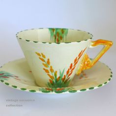 1930s Art Deco BURLEIGH Ware ZENITH Hand Painted Yellow LUPIN Cup & Saucer Duo b