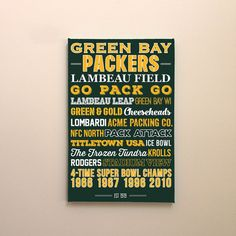 Green Bay Packers Art Canvas or Poster by LavenderInkStudio Packers Memes, Ice Bowl, Green Bay Packers Fans, Greenbay Packers, Western Michigan, Great Father's Day Gifts, Gallery Walls, Canvas Ideas, Potpourri