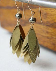 golden fringe pyrite earrings vintage brass by ElisabethSpace