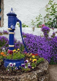 Flowers And Garden Ideas : Blue Garden Water Pump Unique Garden, Diy Garden, Dream Garden, Garden Art, Garden Landscaping, Garden Design, Colorful Garden, Garden Ideas, Purple Garden