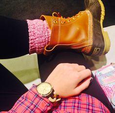 pink plaid & bean boots