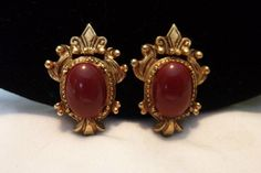 Florenza Victorian Revival Red Carnelian Cabochon Gold Plate | Etsy Vintage Costume Jewelry, Vintage Costumes, Screw Back Earrings, Clip On Earrings, Pink Quartz, Gold Plated Earrings, Vintage Rhinestone, Carnelian, Victorian