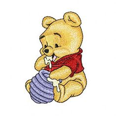 Baby Pooh with honey machine embroidery design. Machine embroidery design. www.embroideres.com
