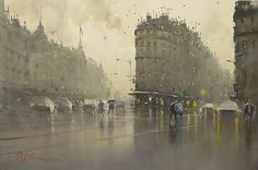 Joseph Zbukvic- Wet Day,Paris 38x56cm