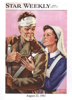 This is a classic image of a heroic wounded devil-may-care soldier, and his caring nurse, dated August 23, 1941. The Star Weekly was a Canadian newsmagazine published by the Toronto Star.