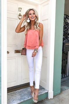 40 Most Popular Casual Outfit Ideas for Summer 2019 - Alles über Damenmode Cute Easter Outfits, Cute Summer Outfits, Spring Outfits, White Jeans Outfit Summer, Pink Top Outfit, Winter Outfits, Casual Outfits Summer Classy, Cute Summer Tops, Summer Jeans