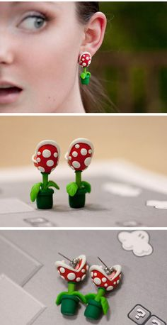 Piranha plant earrings that look like they're biting your ear. they remind me of super mario bros =p Polymer Clay Sculptures, Sculpture Clay, I Love Jewelry, Silver Jewelry, Cute Piercings, Rings N Things, Girls Accessories, Fashion Accessories, Weird Fashion