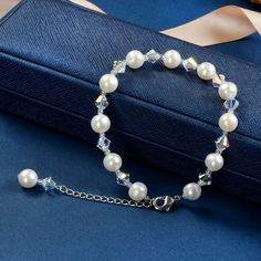 Clear AB Crystal and White Pearl Minimalist Bracelet Bridal Wedding Bracelet with Extender Chain Gold Pearl Ring, Baroque Pearl Necklace, Pearl Jewelry, Pearl Necklaces, Pearl Bracelets, Gemstone Jewelry, Beaded Jewelry, Jewelry Bracelets, Pearl Earrings