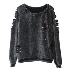 Casual Scoop Neck Long Sleeve Rivet Ripped Sweatshirt For Women ($21) ❤ liked on Polyvore featuring tops, scoopneck top, ripped tops, distressed tops, long sleeve scoop neck top and long sleeve tops