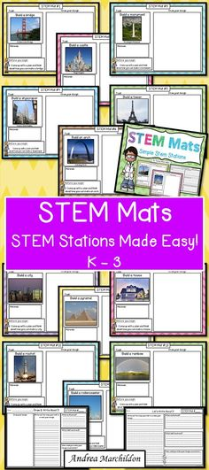 STEM activities for Elementary Students - These STEM mats are a fun way to incorporate science, math, and engineering in your classroom or at home. Let your child come up with their ideas on what materials they will use for each challenge.