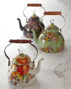 Flower Market and Courtly Check Tea Kettles by MacKenzie-Childs at Horchow.
