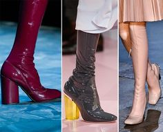 #8: Latex Shoes and Boots  It appears that nearly every designer to showcase his or her collection on the runway for the fall and winter 2015-2016 seasons found the use of latex to be quite necessary. It is a very practical material, stretching out and encapsulating the leg, whether in a bootie or thigh high length style. It is easy to care for, does not require much work with it overall, and emphasizes the beauty of the limbs it holds within. It is a futuristic look that we cannot help but…
