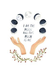 I Am The Moon Art Print by Little Truths, Wall Art, Watercolor Print, Moon Phases, Cosmos