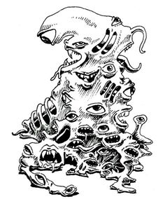 A gibbering mouther is an amoeba-like pile of eyes and mouths. (AD&D Monster Manual II, TSR, 1983.)