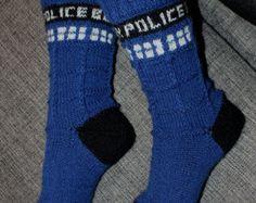 Dr. Who, Tardis, Handmade Womens Wool Socks