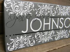 "Cutom Vinyl Wood Sign - Family Name - Great Custom Wedding Present ""Johnson Sign""."