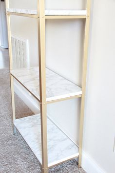 The easiest DIY hack to glam your Ikea Hyllis Shelf Unit into marble and gold shelves. Diy Hanging Shelves, Floating Shelves Diy, Ikea Lack Regal, Gold Shelves, Gold Bookshelf, Ikea Hacks, Diy Hacks, Diy Home Decor Projects, Decor Ideas