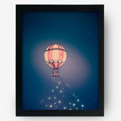 Hot Air Balloon Art Print Handmade by MadeByJaneKimchi on Etsy, $4.50