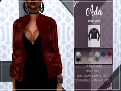 ADA JACKET Sims 4 Dresses, Sims 4 Cc Finds, Sims 4 Clothing, Sims Mods, The Sims4, Sims 4 Custom Content, Sims Cc, Blazers For Women, Bodycon Dress