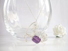 Butterfly Pendant, Amethyst Pendant in Sterling Silver by purplewyvernjewels on Etsy