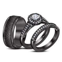 His   Hers 4 PCS Black IP Stainless Steel CZ Wedding Ring Set Mens     His and Hers  925 Sterling Silver Halo Engagement Wedding 3 Piece Trio Rings  Set