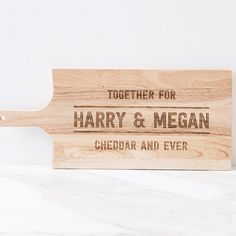 For the couple who love cheese (almost) as much as they love each other, this personalised together for cheddar and ever cheese board is the perfect gift and