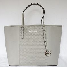 d5ea7cb58505 Michael Kors Microstud Center Stripe Medium Travel Pearl Grey Saffiano  Leather Tote 29% off retail