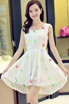 Cute Geo Sleeveless Dress