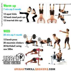 12 squat kicks, 10 hand stand push ups, 12 inverted chin ups, 12 bench press, 20 mountain climbers, 20 Kettlebell swing, row 500m