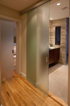 Why frosted glass is widely used for bathroom entry doors? At glance, it is a semi transparent panel so this is really recommended for bathroom entry doors. Bathroom entry doors with frosted glass. Glass Bathroom Door, Sliding Bathroom Doors, Sliding Door Design, Sliding Door Hardware, Sliding Glass Door, Shower Doors, Sliding Doors, Glass Shower, Frosted Glass Barn Door