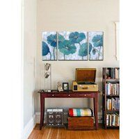 cubism-floral paintings on canvas 3 Panels Modern Prints Artwork Blue Abstract Wall Decor,Stretched- Ready to hang!