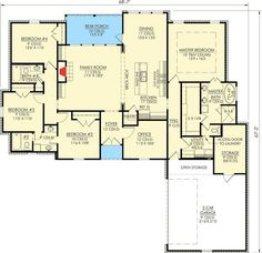 Louisiana Inspired 4 Bedroom Home Plan - 56306SM   Acadian, European, French Country, Southern, Photo Gallery, 1st Floor Master Suite, Butler Walk-in Pantry, Den-Office-Library-Study, Jack & Jill Bath, PDF, Split Bedrooms   Architectural Designs (make bedroom 2 dining, take out 1 sink in front bathroom, build bonus over garage)