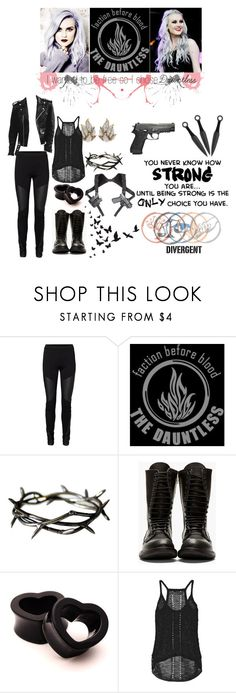 """""""A Divergent In Dauntless"""" by aliiceroseee ❤ liked on Polyvore featuring Vero Moda, Rick Owens, Elizabeth and James, divergent, movie, perrieedwards, OC and dauntless"""