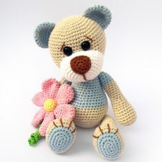Teddy with Flower amigurumi pattern by DioneDesign