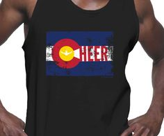 Colorado Cheerleading Unisex Tank. Some of my best cheerleaders at KU were from Colorado. They always had a lot of CO pride with the Colorado flag on their car or backpack, which inspired me to design this tank. I hope my Colorado cheer friends like it! Sizing is unisex on the 100% cotton Gildan bro tank.