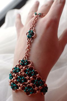 Chainmaille Japanese Slave Bracelet Ring - Chainmail - Chainmaille Jewelry - Hand Chain - Hand Flower. $30.00, via Etsy.