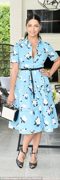 What a beauty: Camila Alves, wife of Mathew McConaughey, stunned in a pretty floral dress ...