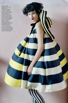 Kirsi Pyrhonen in a Marc by Marc Jacobs trapeze dress for the April 2011 issue. The shoot accompanied a feature by Sophie Dahl, on how stripes are perennially chic.  Photo By Tim Walker/Vogue