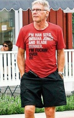 I'm Han Solo, Indiana Jones and Blade Runner. I'm fuckin over it! Harrison Ford This makes me laugh! Harrison Ford, Indiana Jones, Blade Runner, Tv Movie, Movies, Film Mythique, Heros Comics, Belle Photo, Laugh Out Loud