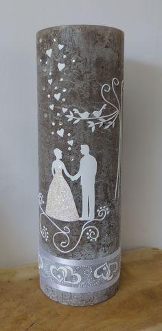 Hochzeitskerze mit Brautpaar in Vintage Stil von mac-kunst.