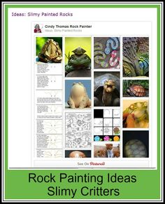 Ideas for painting fish, frogs, turtles, snakes, lizards, snails and other slimy critters on rocks and stones