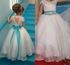 Elegant Flower Girl's Dress Lace Short Sleeves Crytals Bow Sash Girl's Formal Long Dress · Yaydressy · Online Store Powered by Storenvy Cheap Flower Girl Dresses, Girls Pageant Dresses, Lace Flower Girls, Little Girl Dresses, Ball Dresses, Ball Gowns, Prom Dresses, Short Lace Dress, Short Dresses