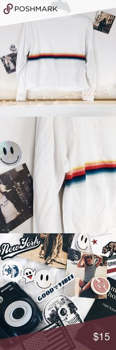 Brandy ♡ Melville Acacia Rainbow Stripe Top Perfect Condition! 🖤👽🌊no trades, sorry! free brandy stickers with purchase🌊👽🖤 Brandy Melville Tops Tees - Long Sleeve
