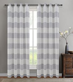 Amazon.com: Urbanest 54-inch by 84-inch Set of 2 Nassau Faux Linen Sheer Striped Curtain Panels with Grommets, Oyster: Home & Kitchen
