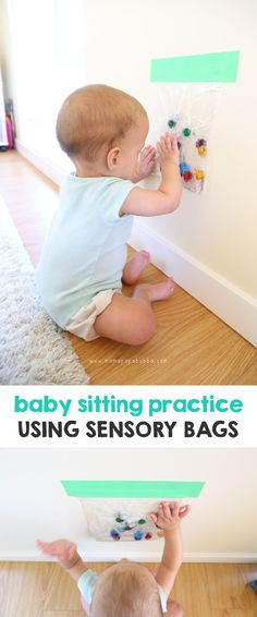 Baby Sitting Practice Using Sensory Bags - Mama. At Baby Sitting Pract Baby Sensory Play, Sensory Activities, Baby Play, Infant Activities, Baby Sensory Bags, Baby Massage, Massage Bebe, Baby Lernen, Kids Fever