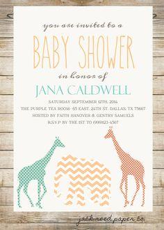 Printable Gender Neutral Safari Baby Shower Invitation Customization Available by JackReedPaperCompany on Etsy https://www.etsy.com/listing/200685785/printable-gender-neutral-safari-baby