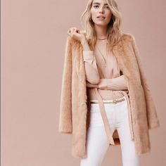 2 X 🎉🎉HP🎉🎉Blush faux fur coat Beautiful and adored by bloggers. Great shade in the winter and yet keeping you warm Ann Taylor Jackets & Coats