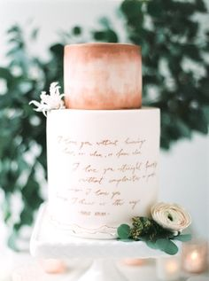 Copper-themed cake with Pablo Neruda quotes baked and designed by Andrea Kargl | Photographed by Peaches and Mint