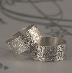 Flora and Fauna Wide Sterling Silver Band or Floral Wedding Ring--Spring/Summer Lily Flower Bouquet Patterned Wedding Band